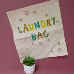 Hand printed eco-friendly ntural cotton laundry bag