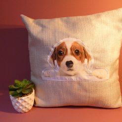 Cute puppy applique handmade complete cushion.