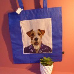 Fun applique dog design tote bag.