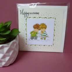 Hand painted and embellished male birthday card.