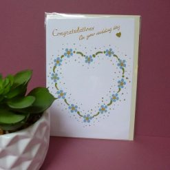 Hand painted daisy heart design 'Congratulations on your Wedding day' card.
