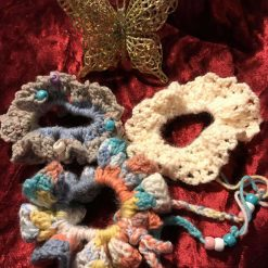 Set of Three Hand Crocheted Scrunchies - Pastels with Beads