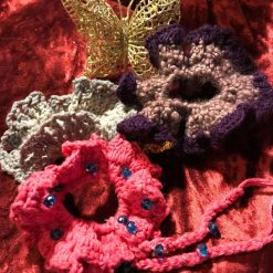 Set of Three Hand Crocheted Scrunchies - Pink and Purple