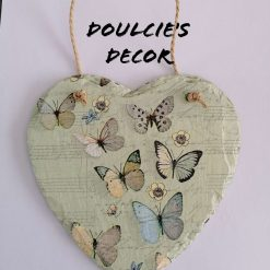 Butterflies slate hanging heart by Doulcie's Decor