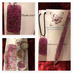 Resin Accessory and Jewellery Set, Pen, Comb, Keyring, Pendant - Pink Glitter, Pink and Green Beads