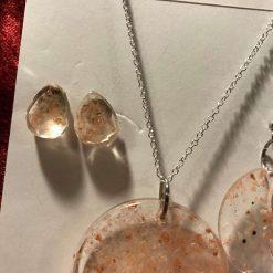 Resin Jewellery Set - Moon Pendant with Pink Himalayan Rock Salt, 1 x Crescent Moon Drop Earrings, 1 x Stud Earrings 1