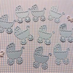 Prams Card Craft x 10 Light Blue Die-cut Toppers Embellishments