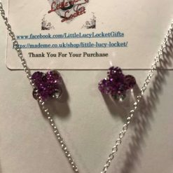 Resin Jewellery Set - Purple Glitter Drop Pendant, Matching Drop Earrings and Studs 3