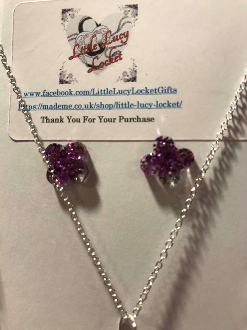 Resin Jewellery Set - Purple Glitter Drop Pendant, Matching Drop Earrings and Studs