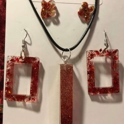 Resin Jewellery Set - Pendant on Wax Cord, 1 x Pair Drop Earrings, 1 x Pair Studs - Red Glitter