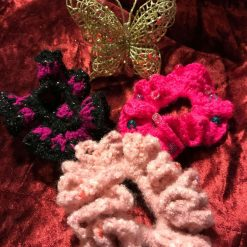 Set of Three Hand Crocheted Scrunchies - Shades of Pink