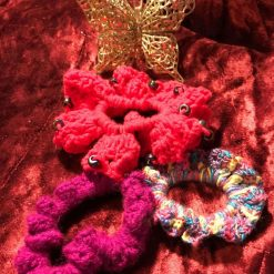 Set of Three Hand Crocheted Scrunchies - Pinks