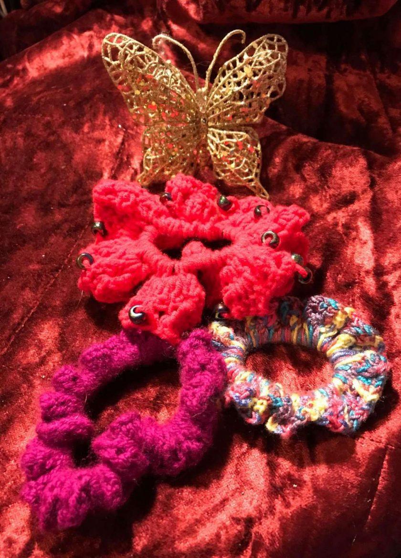 Set of Three Hand Crocheted Scrunchies - Pinks