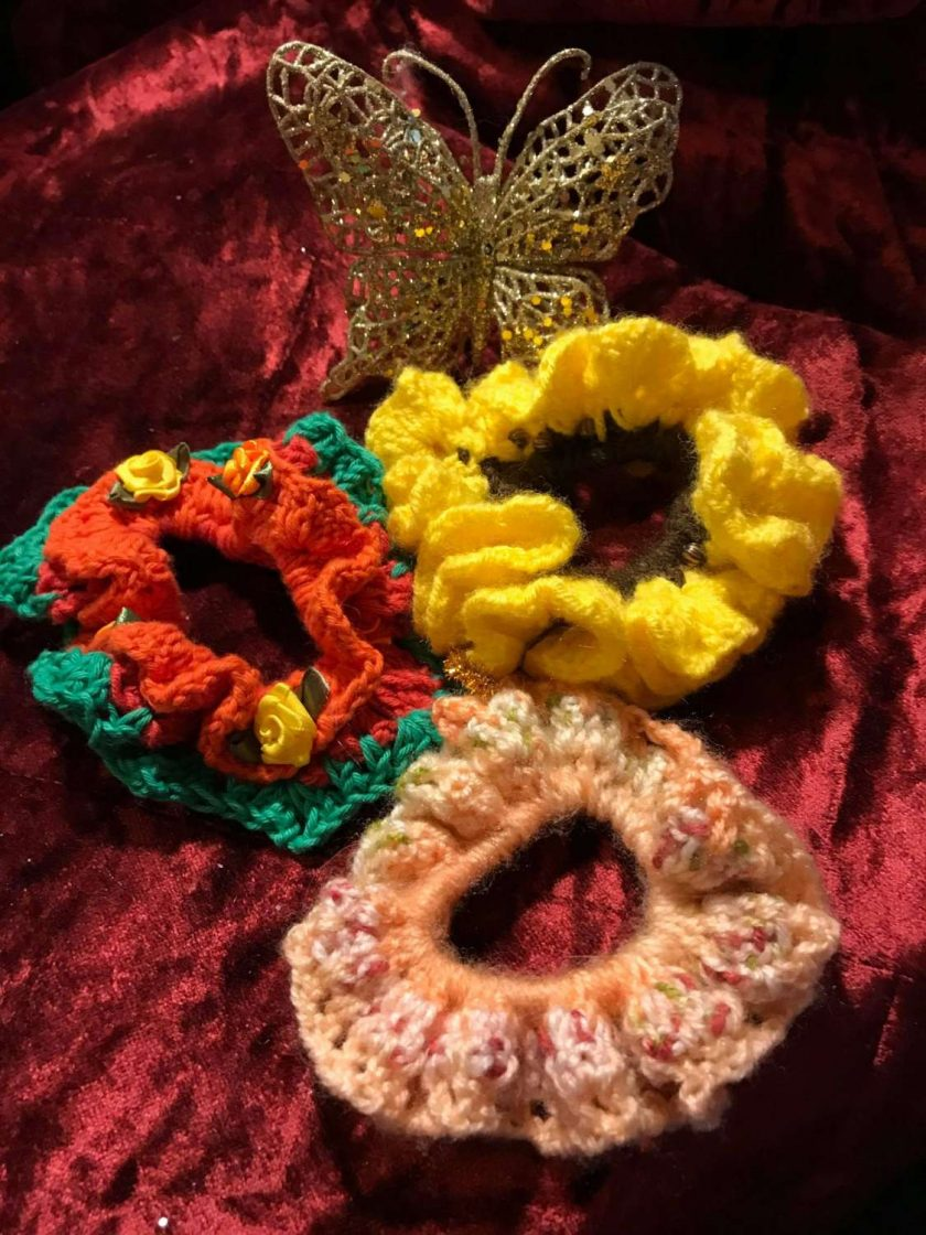 Set of Three Hand Crocheted Scrunchies - Sunflower and Roses