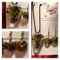 Resin Jewellery Set - Heart Shaped - Pendant and Drop Earrings - Northumbrian Sea Coal and Gold Glitter,
