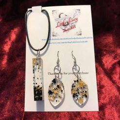 Resin Jewellery Set - Pendant and Drop Earrings - Northumbrian Sea Coal and Gold Foil Flakes,