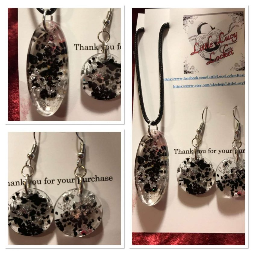 Resin Jewellery Set - Pendant and Drop Earrings - Northumbrian Sea Coal and Silver Foil Flakes