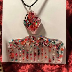 Resin Pendant on Wax Cord with Matching Resin Comb - Spotty Dotty Design