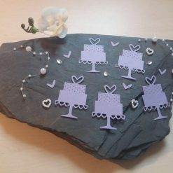 Wedding Cake Card Craft x 5 Lavender Die-cut Toppers Embellishments