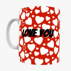 Love You - Red & White Heart Mug