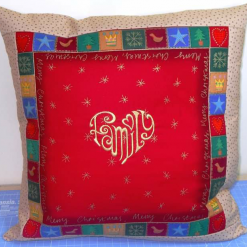 'Patchwork' Style ♥️ Soft Touch ♥️ FAMILY 💗 CHRISTMAS Cushion Cover ♥️ Exclusive EMBROIDERED Design ♥️ Quilted & Padded 8