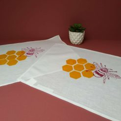 Hand printed bee and honeycomb linen/cotton mix place mats.