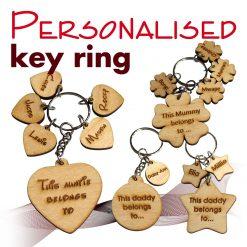 Personalised key ring *This mum dad granda belongs to* PLYWOOD*