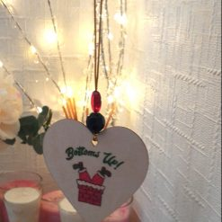 """Hand-Etched Boozy Christmas Decorations: """"Bottoms up"""""""