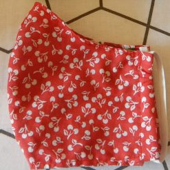 Red cherry machine washable, re-usable, 2-layer fabric face mask with pocket for additional filter. 5 sizes available. Matching scrunchie available.