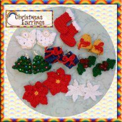 Christmas Earrings - crochet pattern