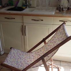 Furniture - upcycled vintage floral deckchair