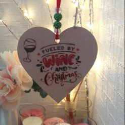 """Hand-Etched Boozy Christmas Decorations: """"Fuled by Wine And Christmas"""""""
