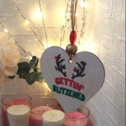 """Hand-Etched Boozy Christmas Decorations: """"Gettin' Blitzened"""""""