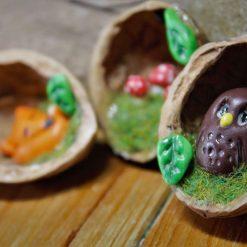 Woodland  Ornaments (Walnut Shells)