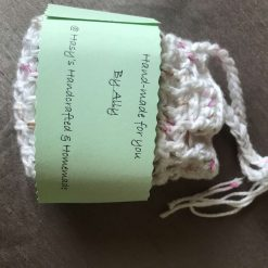Crochet Reusable Cleansing Pads (6) and Bag - White 9