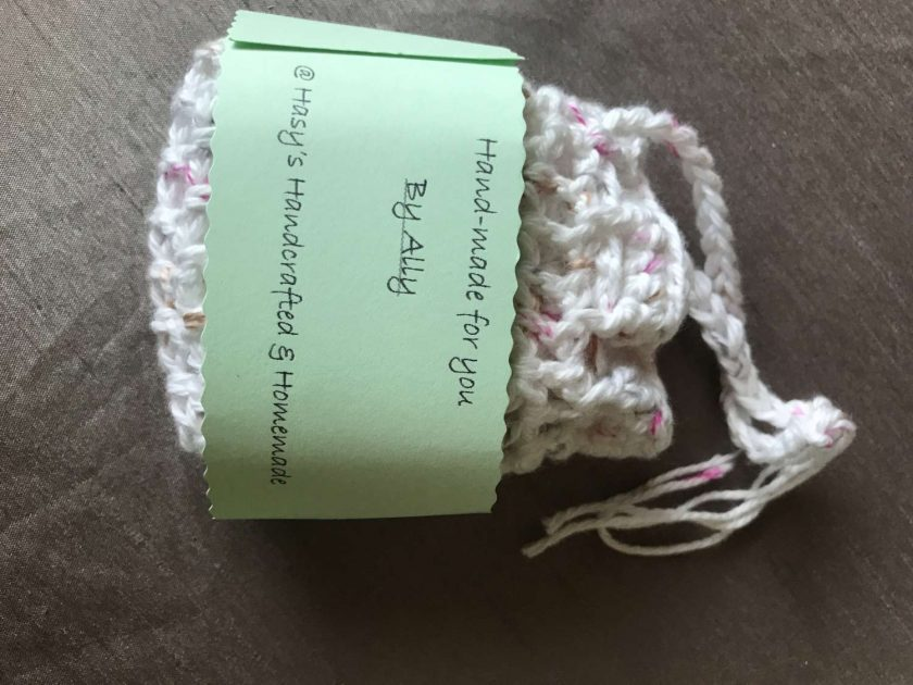 Crochet Reusable Cleansing Pads (6) and Bag - White 5