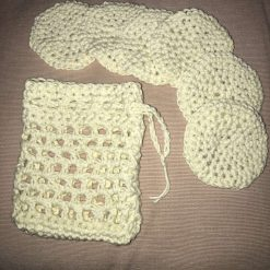 Crochet Reusable Cleansing Pads (6) and Bag - White