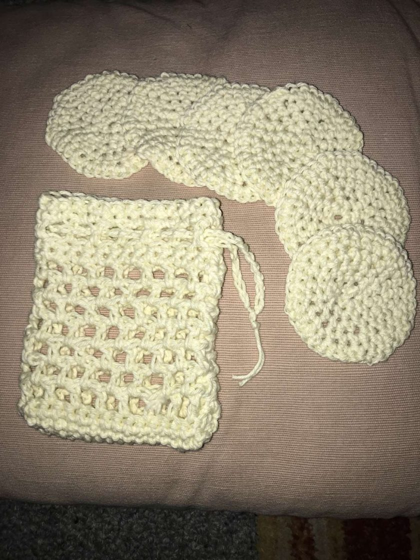 Crochet Reusable Cleansing  Pads (6) and  Bag - Pale Yellow 1