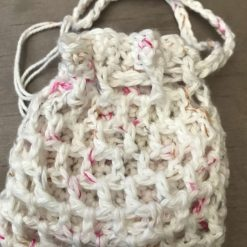 Crochet Reusable Cleansing Pads (6) and Bag - White 7