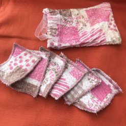 Reusable Cleansing Face Pads (6) and Storage Bag - Pink Fabric