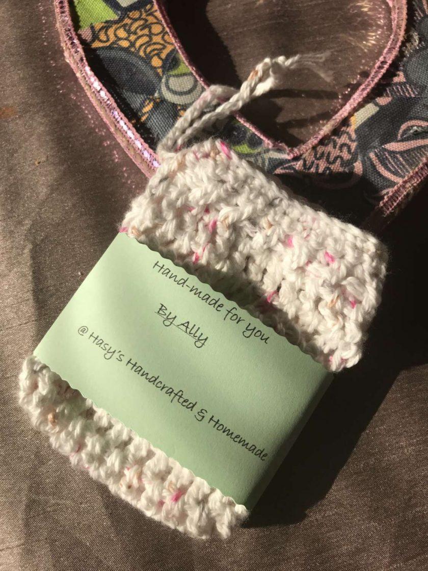 Crochet Soap Bag White Fleck 1