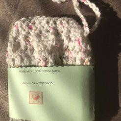 Crochet Soap Bag White Fleck 5