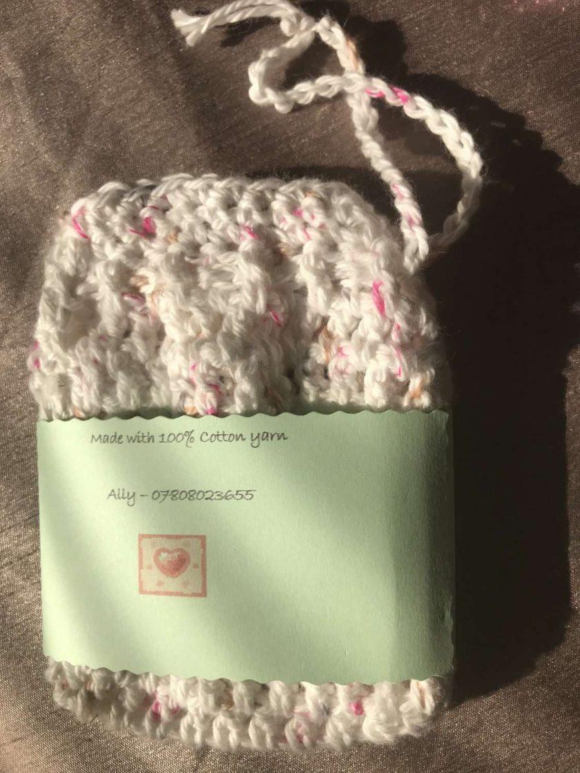 Crochet Soap Bag White Fleck 3