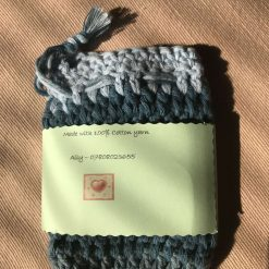 Crochet Soap Bag Blue Stripe 2