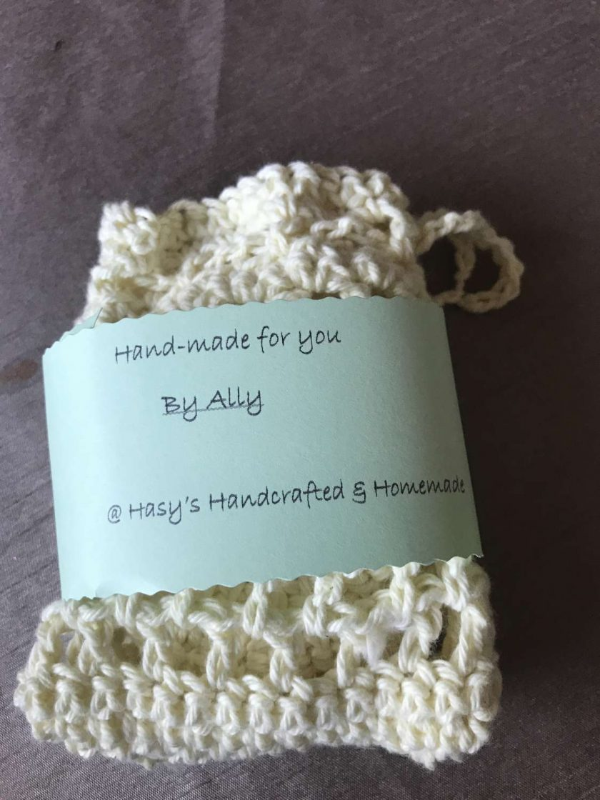 Crochet Reusable Cleansing  Pads (6) and  Bag - Pale Yellow 4