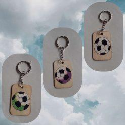 Handmade printed football keyring