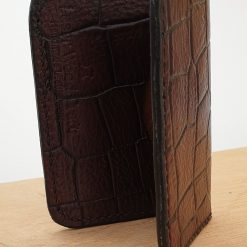 Handmade Dark Brown Reptile Pattern Veg Tan Leather Folding Card Wallet