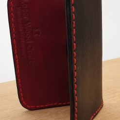 Handmade Black And Red Veg Tan Leather Folding Card Wallet With Cotton Fabric Lining