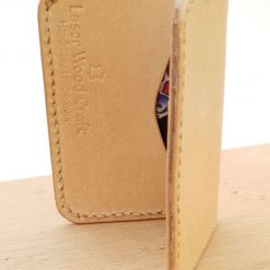 Handmade Natural Veg Tan Leather Folding Card Wallet With Sugar Skull Fabric Lining