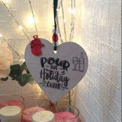 """Hand-Etched Boozy Christmas Decorations: """"Pour The Holiday Cheer"""""""